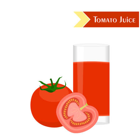 garden stuff: illustration with juicy and tasty vegetables - tomato and tomato juice.