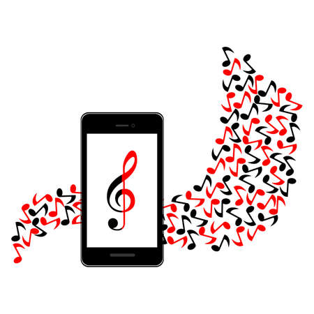 rehearsal: the illustration of a music and the smartphone.