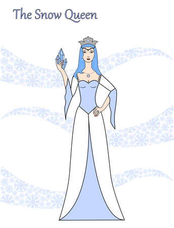 illustration on the theme of winter with a snow queen.