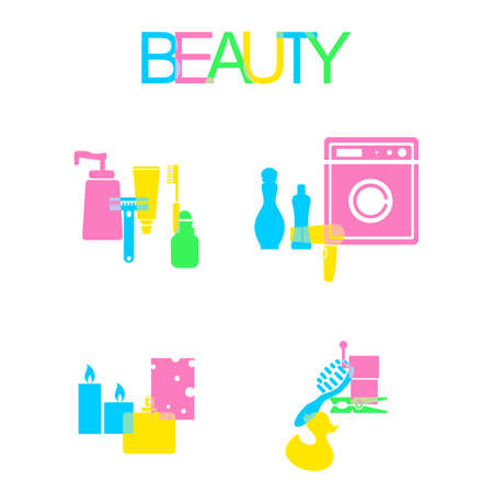 cleanliness: illustration - set of objects dedicated to cosmetics and body care products.