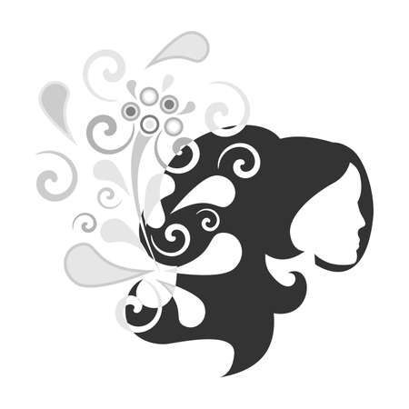 hair dresser: illustration of a lady on the background of a beautiful flower pattern. Illustration