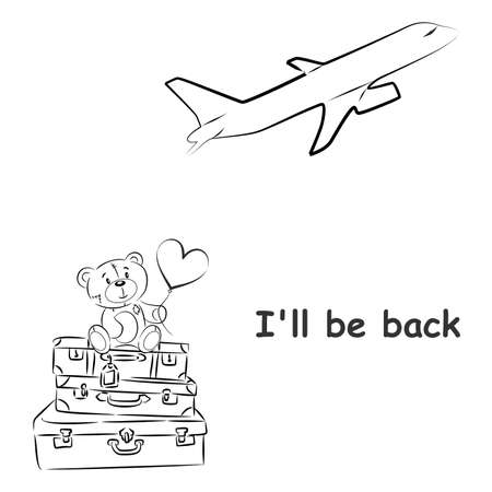 come back: Illustration with teddy bear and suitcases on the theme of travel.