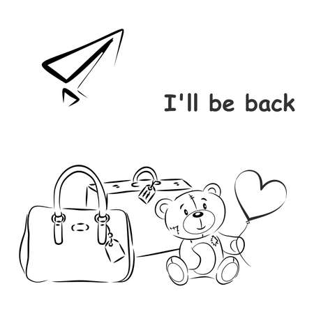 Illustration with teddy bear and suitcases on the theme of travel.