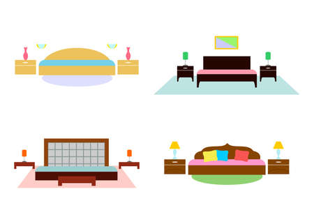 modern interiors: the bright and colorful illustration of a modern interiors of bedroom .