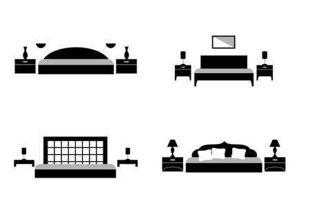 bed room: the illustration of a modern bedrooms in black.