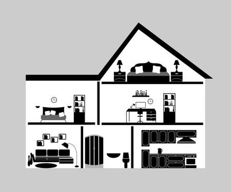interiors: the illustration of a modern interiors in black. Illustration