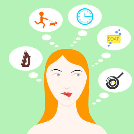woman washing face: the illustration dedicated to the different housewifes thoughts. Illustration