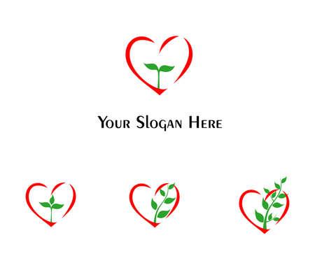 illustratie - set van logo's - gewijd aan liefdadigheid en een nieuw leven.