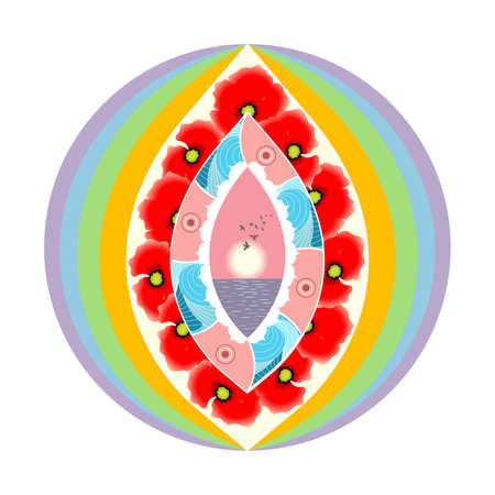 esotericism: illustration of bright and  mandala on the theme of esotericism. Illustration