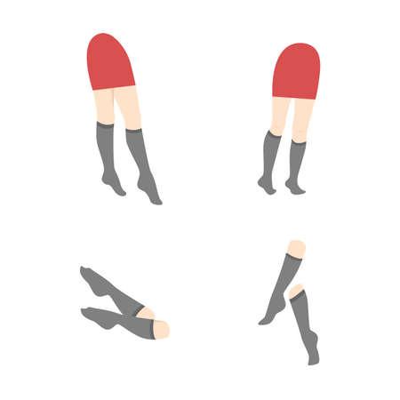 medias veladas: la ilustración de las piernas femeninas en pantimedias.