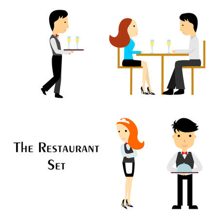 dinner date: Illustration in the style of a flat design on the theme of the restaurant and the waiters. Illustration