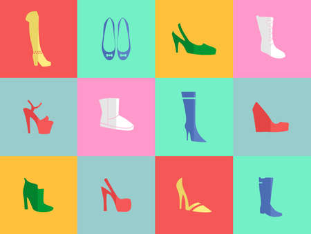 apparel part: Illustration - set of icons - dedicated to fashionable and beautiful womens shoes. Illustration