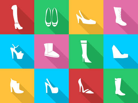 women's shoes: Illustration - set of icons - dedicated to fashionable and beautiful womens shoes. Illustration