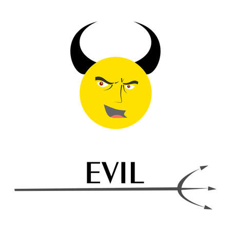 hatred: illustration on the theme of anger - angry face with horns.