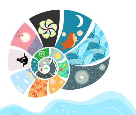 illustratie - concept - op het thema van de diversiteit en de schoonheid van onze wereld. Stock Illustratie
