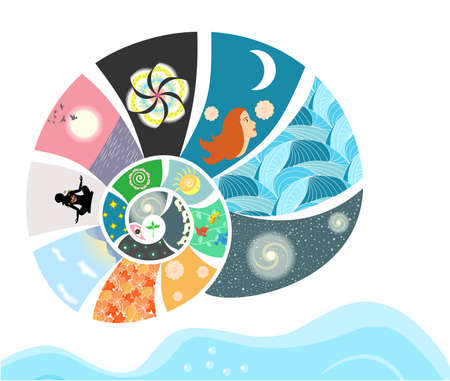 water birth: illustration - concept - on the theme of diversity and beauty of our world.