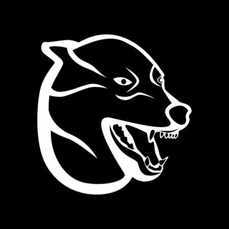 growl: a wolf on a black background. Illustration