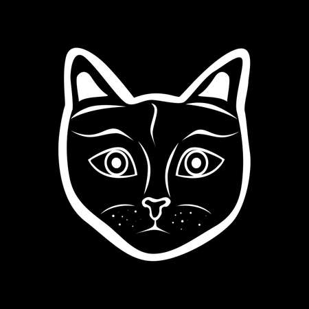 jaws: a cat on a black background. Illustration