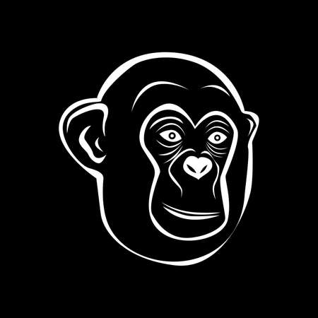 grimace: the illustration - white silhouette of a monkey on a black background. Illustration