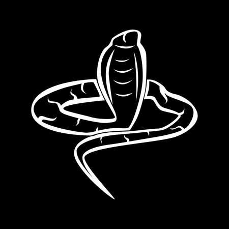 treacherous: the illustration - white silhouette of a snake on a black background.