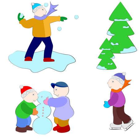 l'illustration des différents enfants qui joue dehors et hiver.