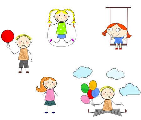 l'illustration des enfants différents qui joue à l'extérieur.