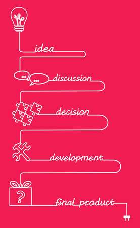 implementation: illustration on the theme of technology, business and the implementation of ideas. Illustration