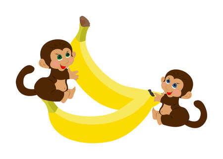 friends eating: cheerful and funny illustration in childrens style with monkey and banana. Illustration