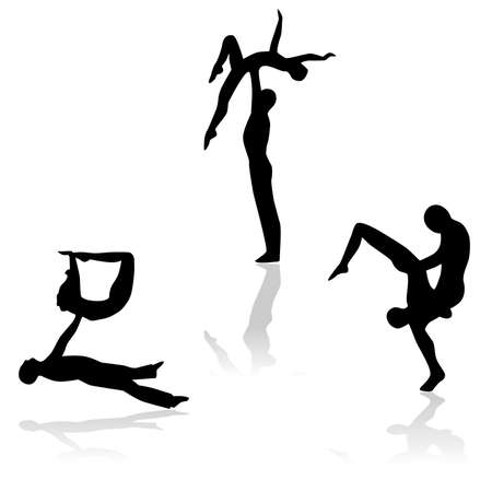 acrobacia: the illustration - set of silhouettes of people who are doing acrobatics.