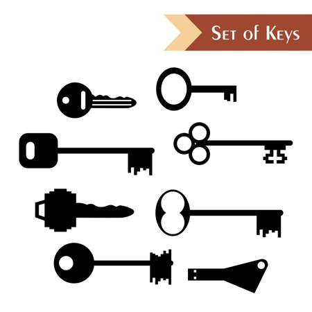 latchkey: the illustration - Set of various keys in the style of a flat design.