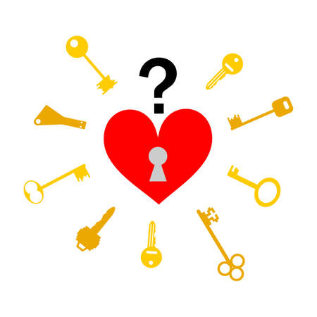 should: illustration - concept - with different keys, which should open the heart.