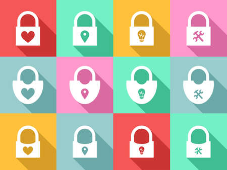 lock: the llustration - Set of icons - with the different locks. Illustration