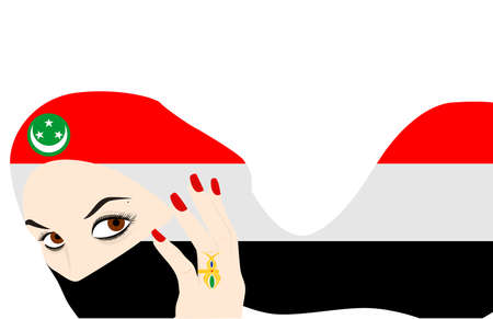 harem: the illustration - the beautiful Egyptian girl and the veil.
