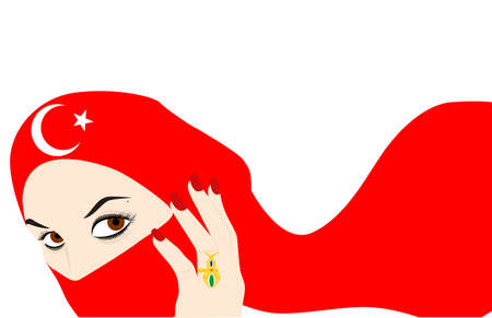 harem: the illustration - the beautiful Turkish girl and the veil.
