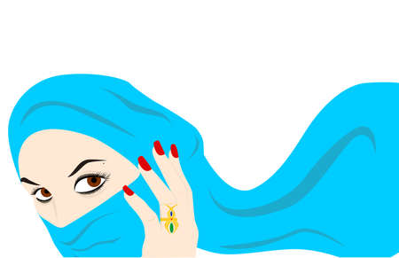 harem: the illustration - the beautiful Arab girl and the veil.