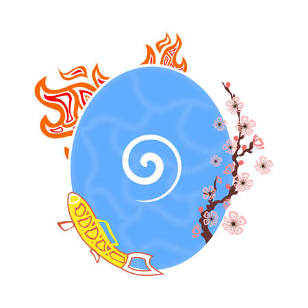 four elements: Illustration - concept - with the different four elements. Vectores