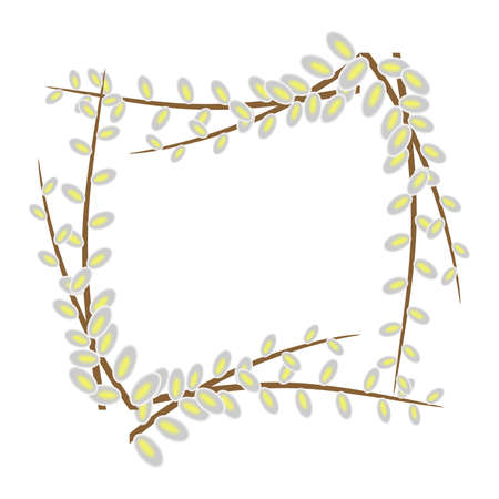 thaw: the illustration on the theme of spring with tender willow. Illustration