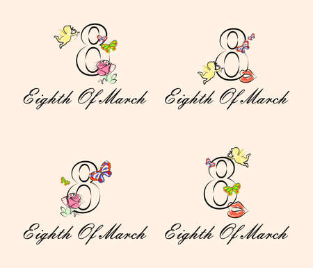 flower designs: the illustration dedicated to the eighth of March - Womens Day.