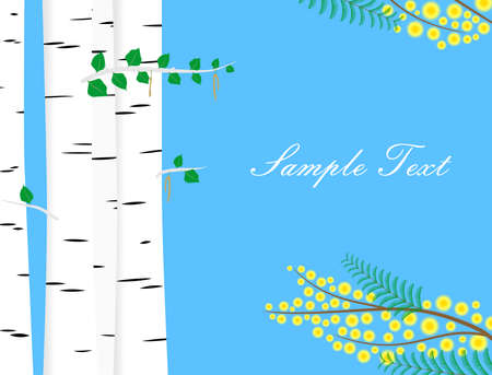 thaw: the illustration on the theme of spring with tender birches and mimosa. Illustration