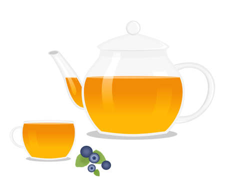 illustration of a teapot and a cup with herbal and hot tea.