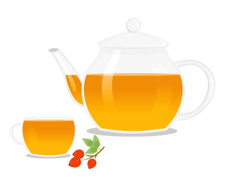 decoction: illustration of a teapot and a cup with herbal and hot tea.