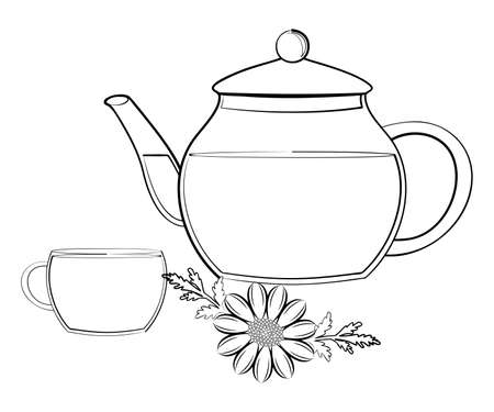 chamomile tea: illustration of a teapot and a cup with herbal and hot tea.