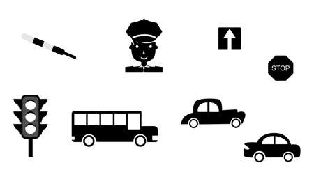 rules: set of icons in the style of a flat design dedicated to transport and traffic.