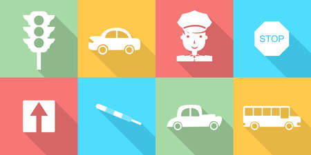 violation: set of icons in the style of a flat design dedicated to transport and traffic.