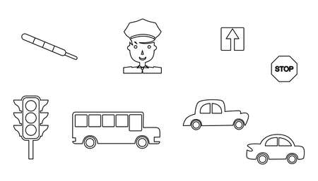 traffic violation: set of icons in the style of a flat design dedicated to transport and traffic.