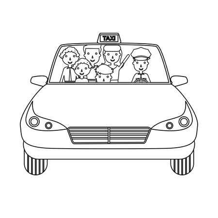 passengers: the illustration of a car in which passengers are happy.