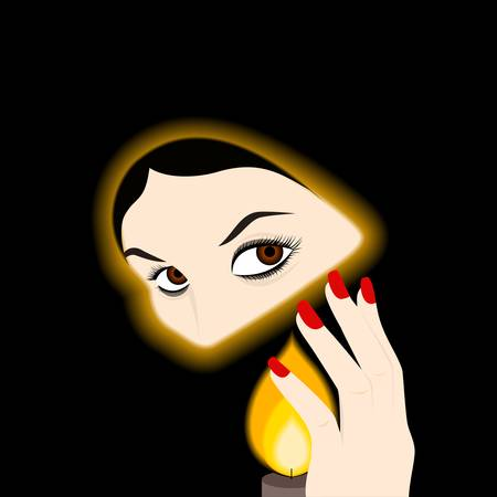 guiding light: illustration of a beautiful girl who is holding a candle in the dark. Illustration