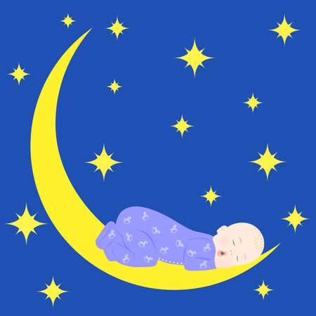 Illustrazione di un bambino sveglio che dorme sulla luna. Archivio Fotografico - 53119669