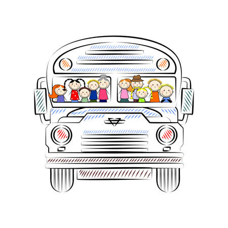 which: the illustration of a bus in which passengers are happy.