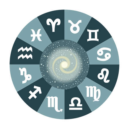 the illustration with the universe and the zodiac.